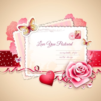 Valentine's Day Scrapbook Style Postcard Vector Illustration