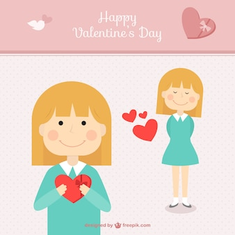 Valentine's greeting card with girl