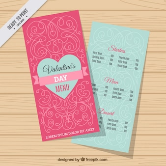 Valentine's menu with ornamental decoration