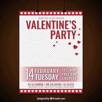 Valentine's party poster with red gift boxes