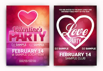 Valentine's party posters set