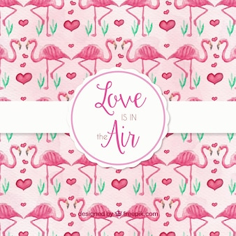 Valentine's pattern with watercolor flamingos