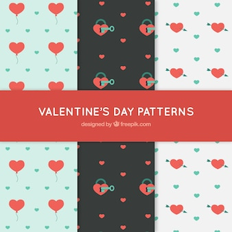Valentine's patterns with decorative hearts