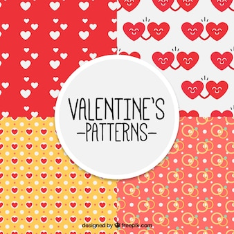 Valentine's patterns with hearts and rings