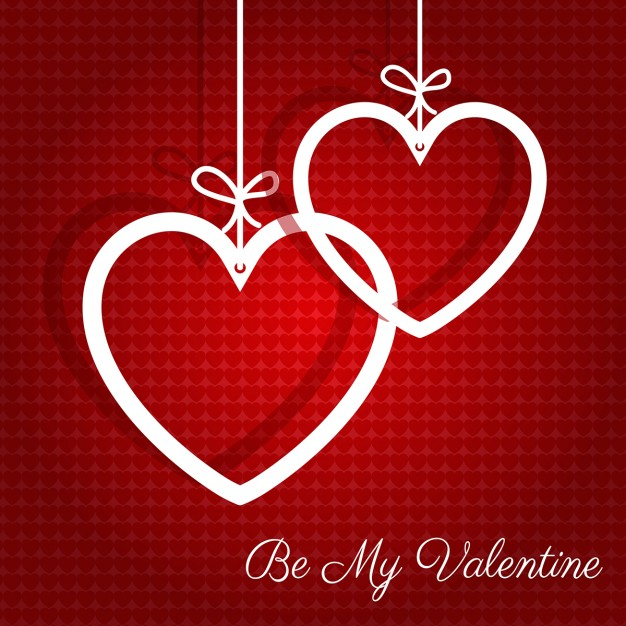 Valentines background with two white hearts hanging