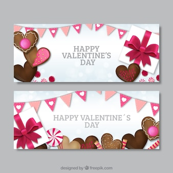 Valentines banners with chocolate