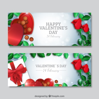 Valentines banners with chocolates and roses