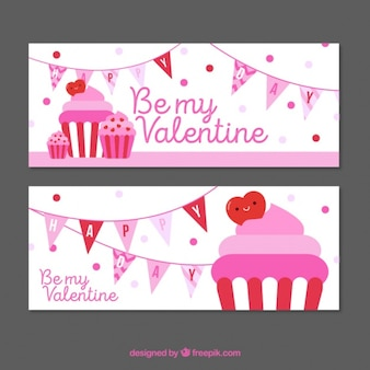 Valentines banners with garlands and cupcakes