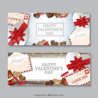 Valentines banners with gifts and sweets