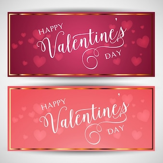 Valentines banners with golden borders