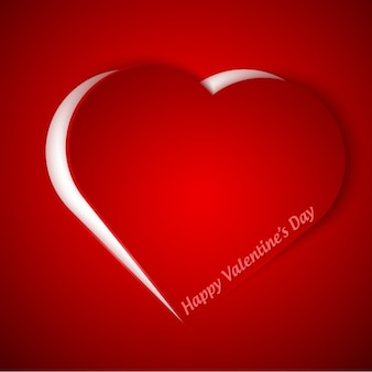Valentines card with hear in color red