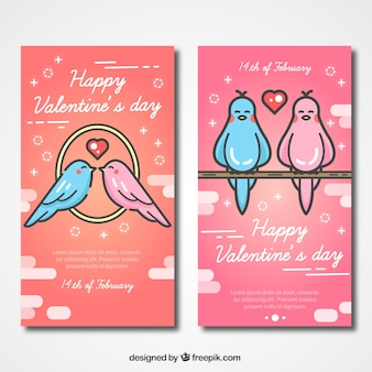Valentines cards with loving birds