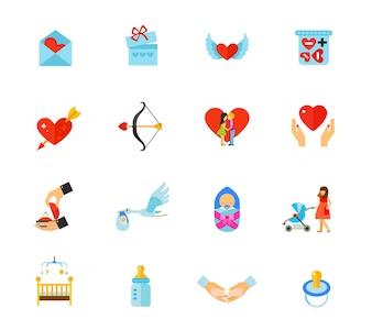 Valentines Day and Newborns icon set