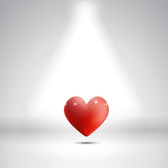 Valentines Day background with a heart under a spotlight