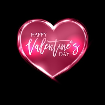 Valentines Day background with a neon heart