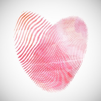 Valentines Day background with watercolor heart shape of fingerprints