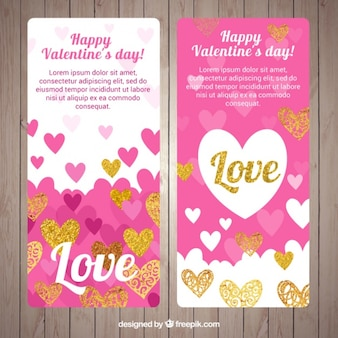 Valentines day banner pack with doodle hearts