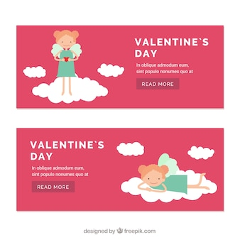 Valentines day banners with lovely little angel