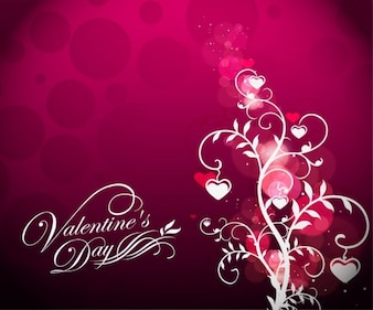 valentines day floral on red background