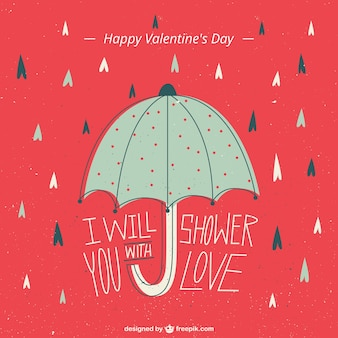 Valentines day illustration with an umbrella