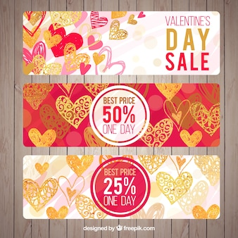 Valentines day sale banners with hearts