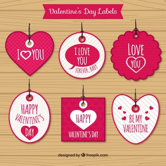 Valentines day tags of shapes