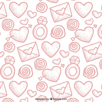 Valentines pattern in hand-drawn style