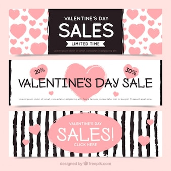 Valentines sale banners with hearts and stripes