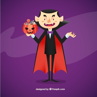 Vampire illustration with candies