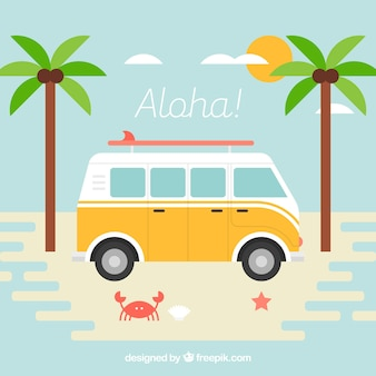 Van background on the beach