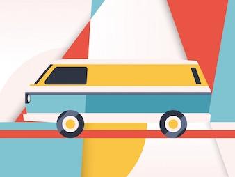 Van with geometric background
