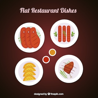 Varied dishes flat style restaurant
