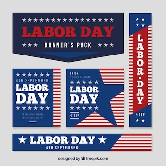 Varied set of banners for labor day