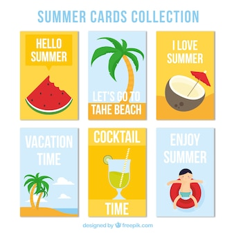 Variety flat cards with summer elements