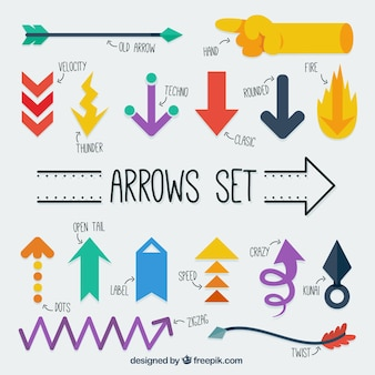 Variety of arrows in colors
