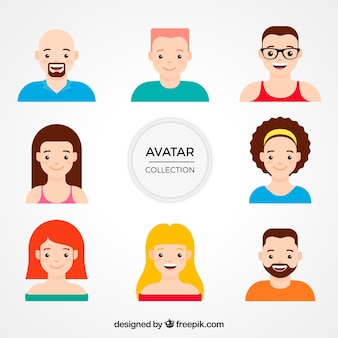 Variety of avatars in flat design