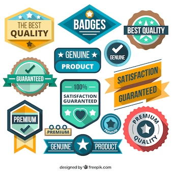 Variety of badges in flat style