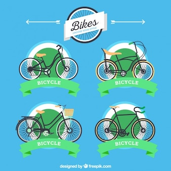 Variety of bicycle labels with ribbons