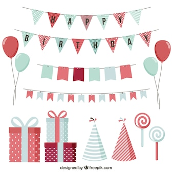 Variety of birthday elements in vintage style