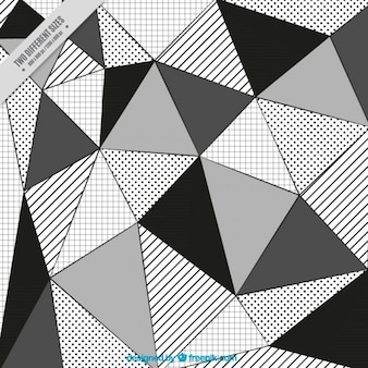 Variety of black and white triangles background