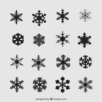 Variety of black snowflakes