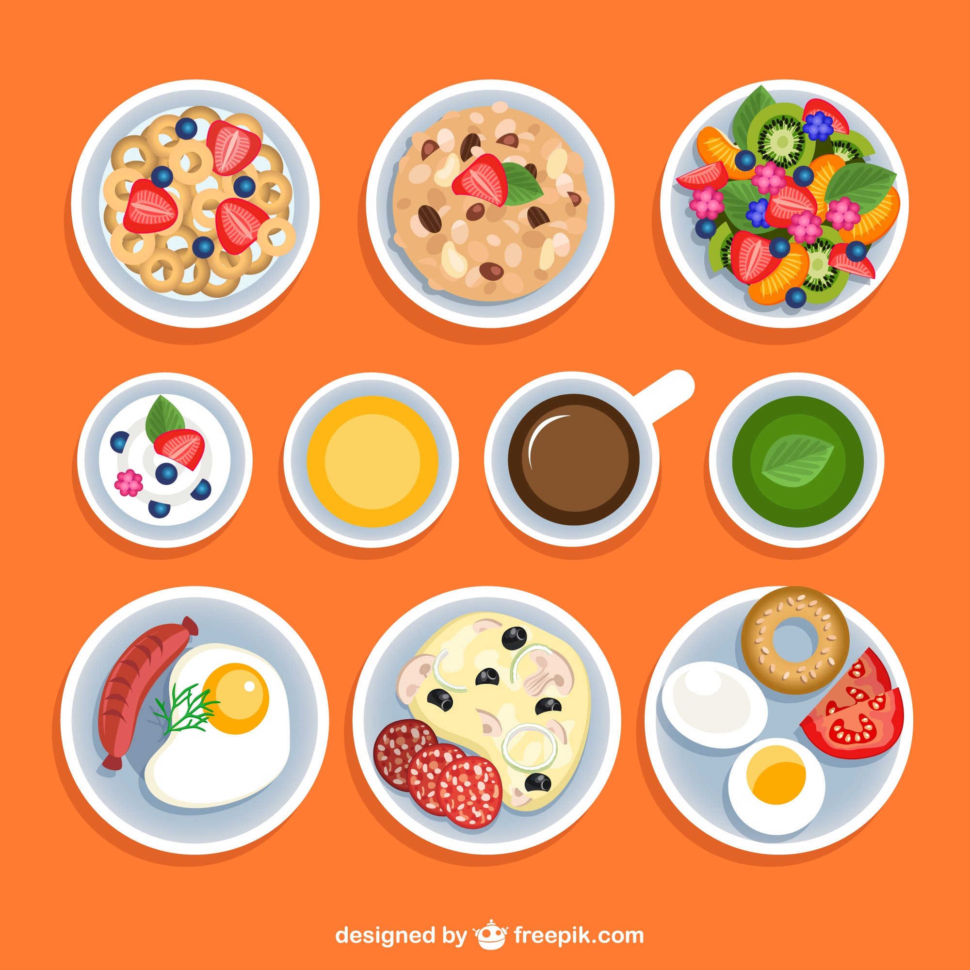 Variety of breakfasts