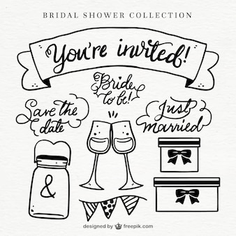 Variety of bridal shower elements in hand-drawn style