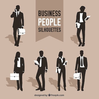 Variety of business people silhouettes