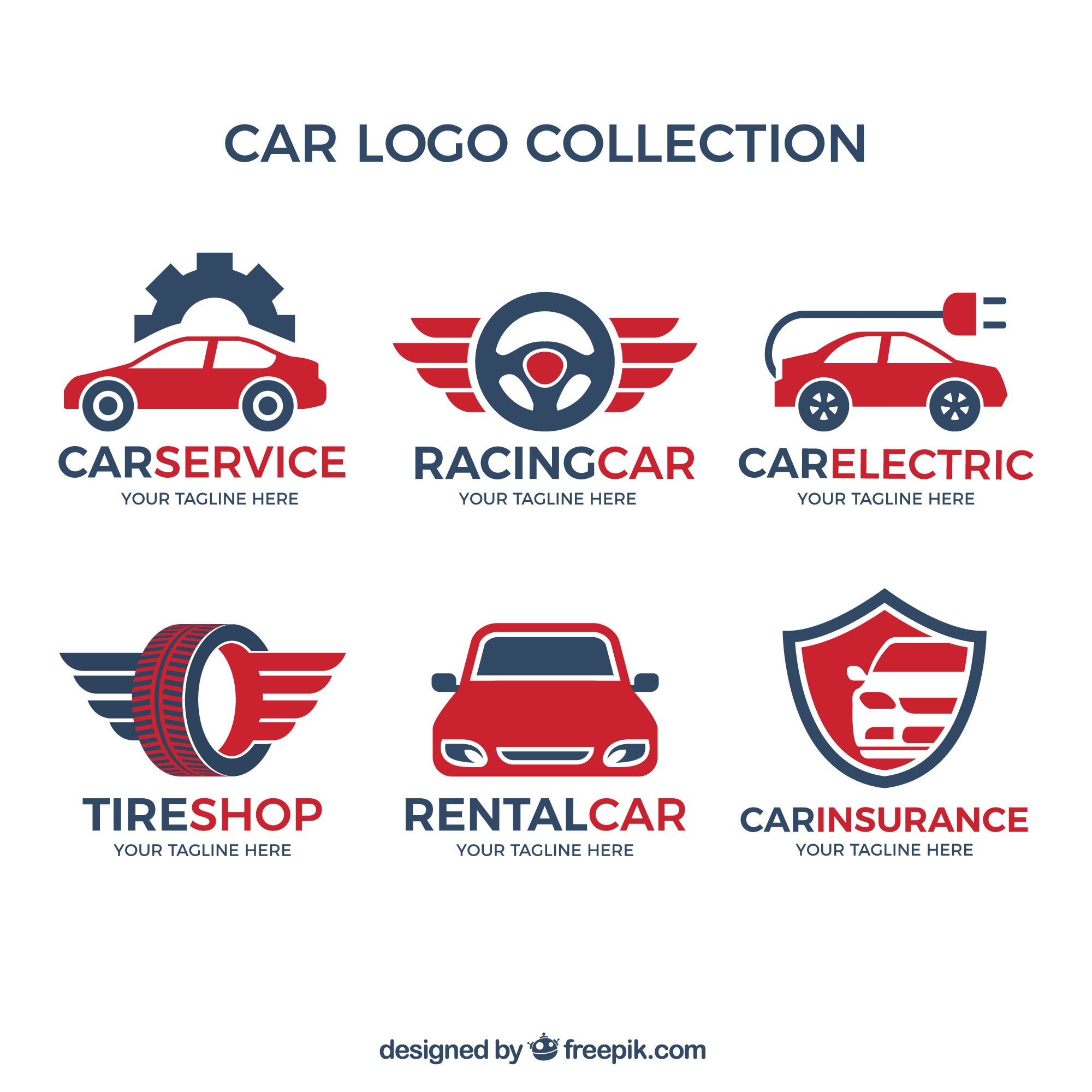 Variety of car logos with red details