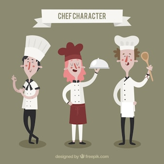 Variety of chef characters with different postures
