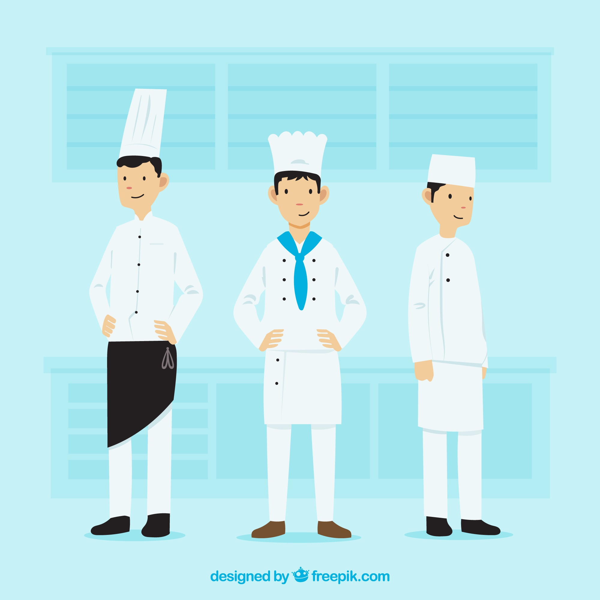 Variety of chefs with flat design