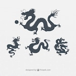 Variety of chinese dragons silhouettes