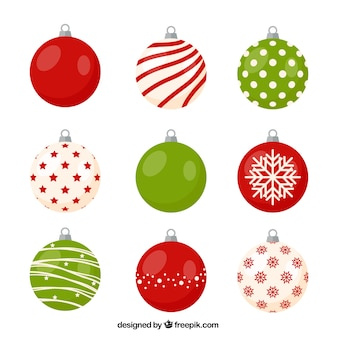 Variety of christmas balls with nice designs