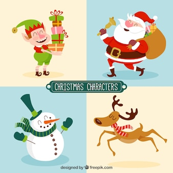 Variety of christmas characters